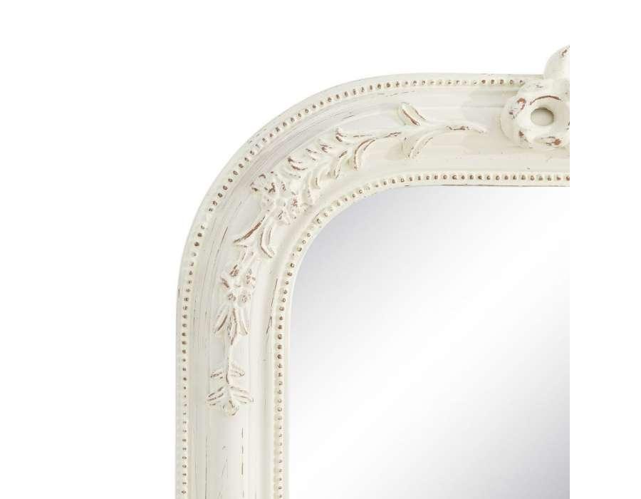Miroir romantique blanc patin pas cher for Miroir romantique