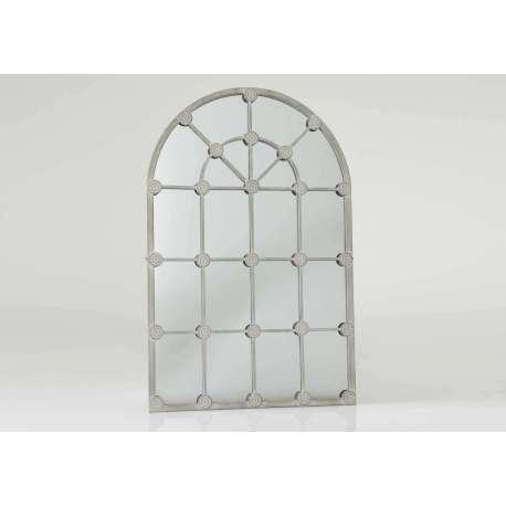 Miroir grande demeure métal vieilli gris