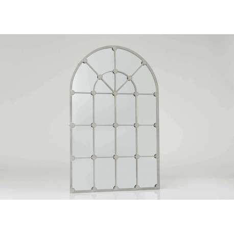 Miroir grande demeure métal vieilli gris 140 cm
