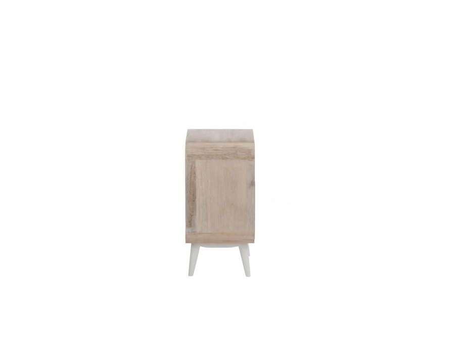 Chevet retro arrondie avec 2 tiroirs bois clair jolipa for Table de chevet bois clair