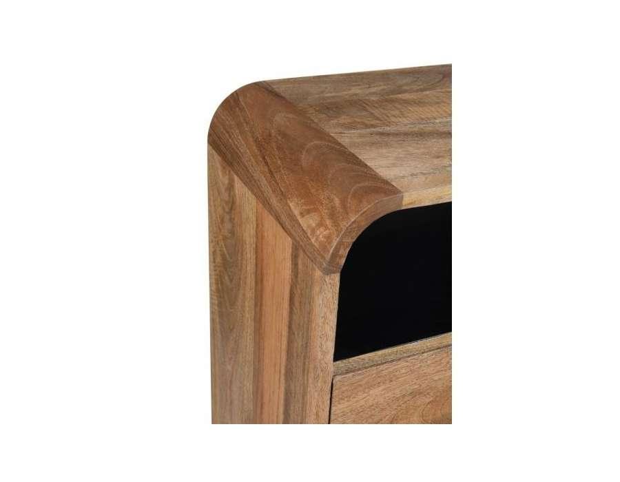 Chiffonnier arrondi 4 tiroirs bois naturel Jolipa