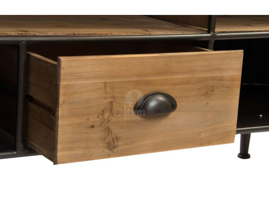 meuble tv vintage 150 cm en bois et m tal industriel. Black Bedroom Furniture Sets. Home Design Ideas