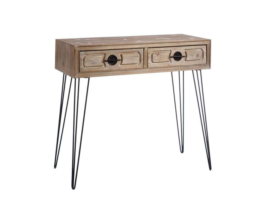 console vintage en bois c rus 2 tiroirs pas cher 87 cm. Black Bedroom Furniture Sets. Home Design Ideas