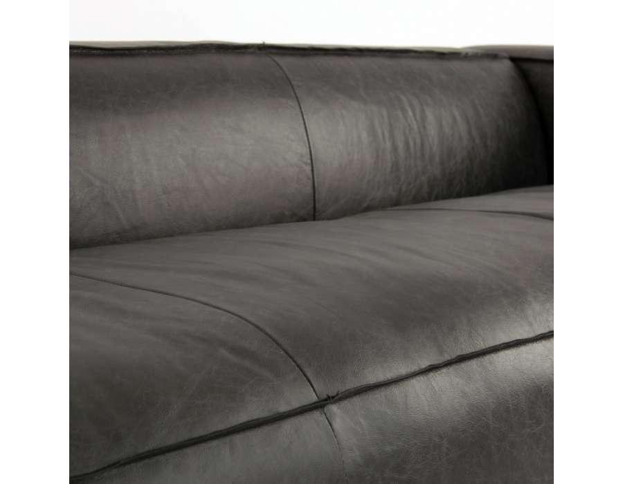 Grand canapé 280 cm en cuir noir chic