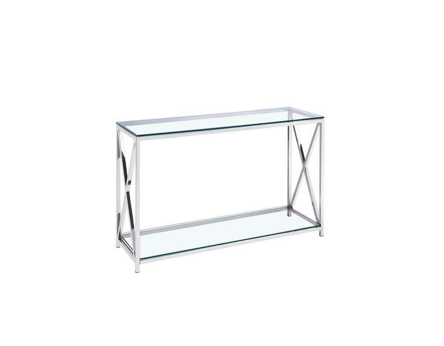 grande console en verre et m tal chrom moderne. Black Bedroom Furniture Sets. Home Design Ideas