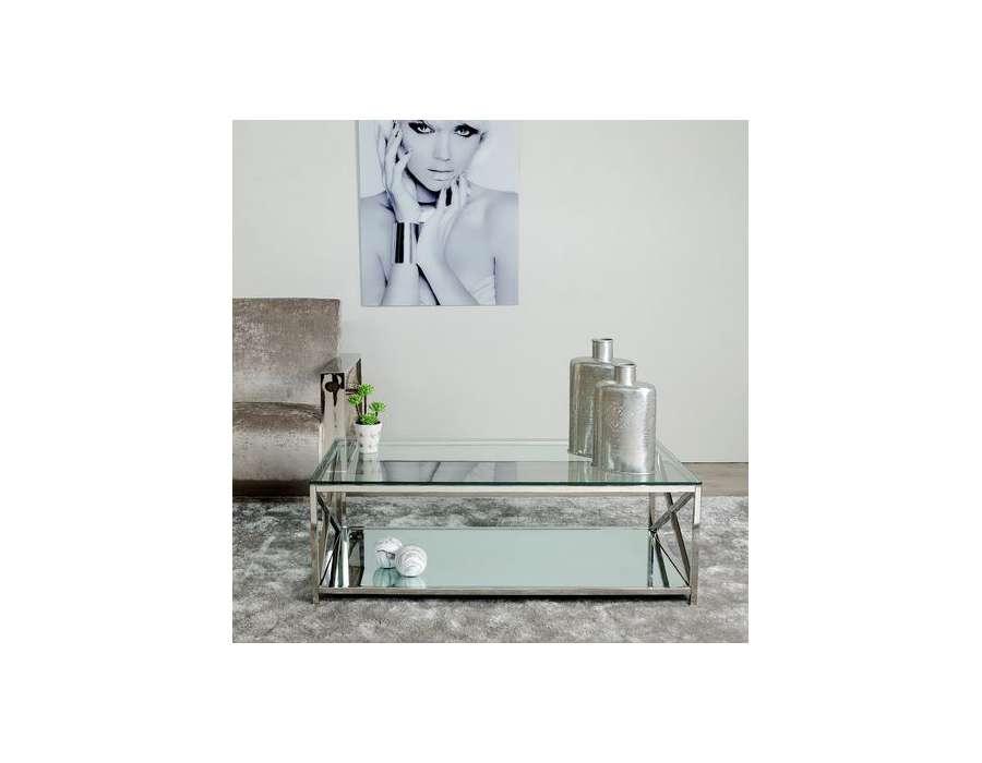 Table de salon moderne verre et métal chromé