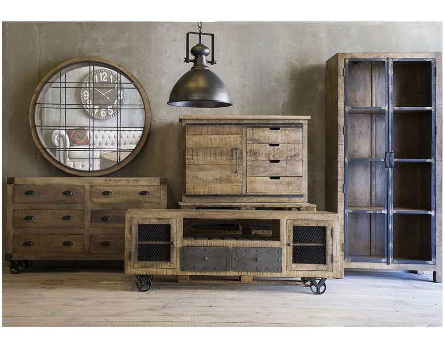 meuble tv bois industriel vical home. Black Bedroom Furniture Sets. Home Design Ideas