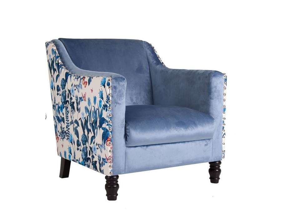 Fauteuil bleu satiné tapissé