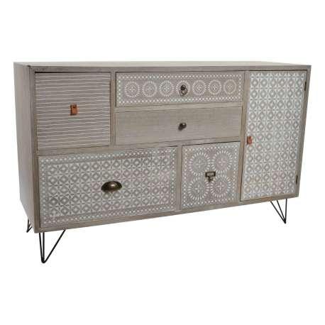 commode pas cher r tro gris clair. Black Bedroom Furniture Sets. Home Design Ideas