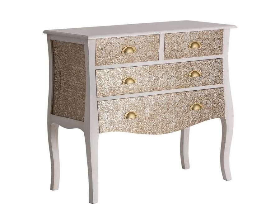 commode baroque blanche orientale 4 tiroirs vical home avec fleurs en aluminium. Black Bedroom Furniture Sets. Home Design Ideas
