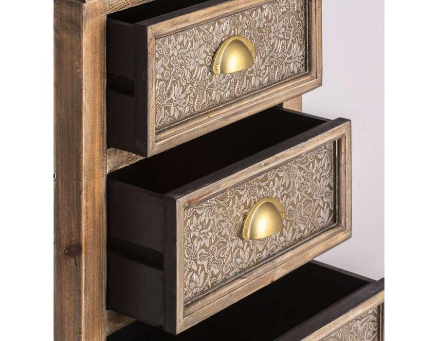 Chevet sculpté bois oriental 3 tiroirs