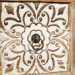 Meuble bas bois cérusé sculpté