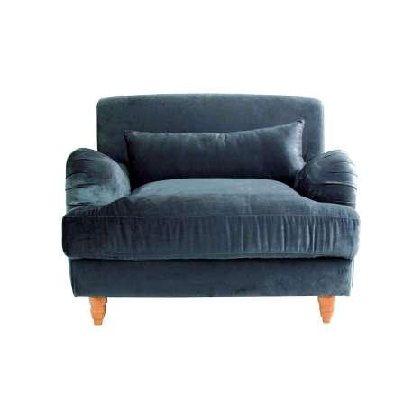 grand fauteuil bleu allong en velours avec assise large. Black Bedroom Furniture Sets. Home Design Ideas