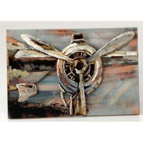 Tableau bois et m tal vintage avion avec h lice m tallique - Peinture decorative sur bois et metal ...