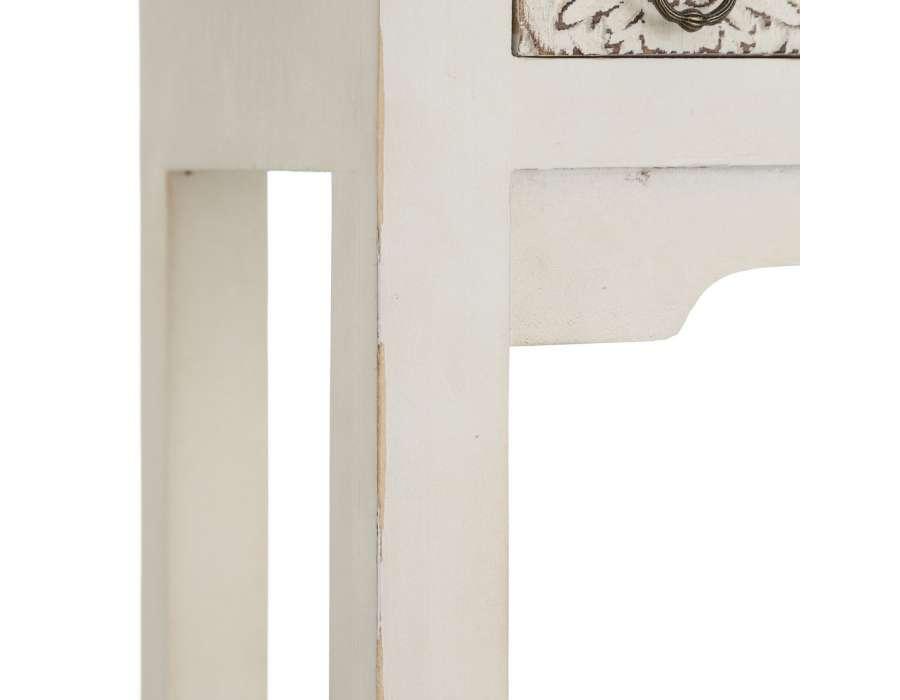 Petite console blanche sculptée Emmy