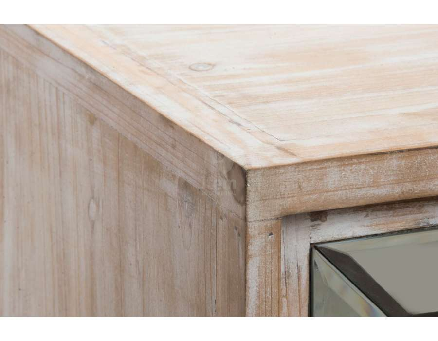 Chevet 2 tiroirs bois blanchi et miroir chic for Miroir bois ceruse