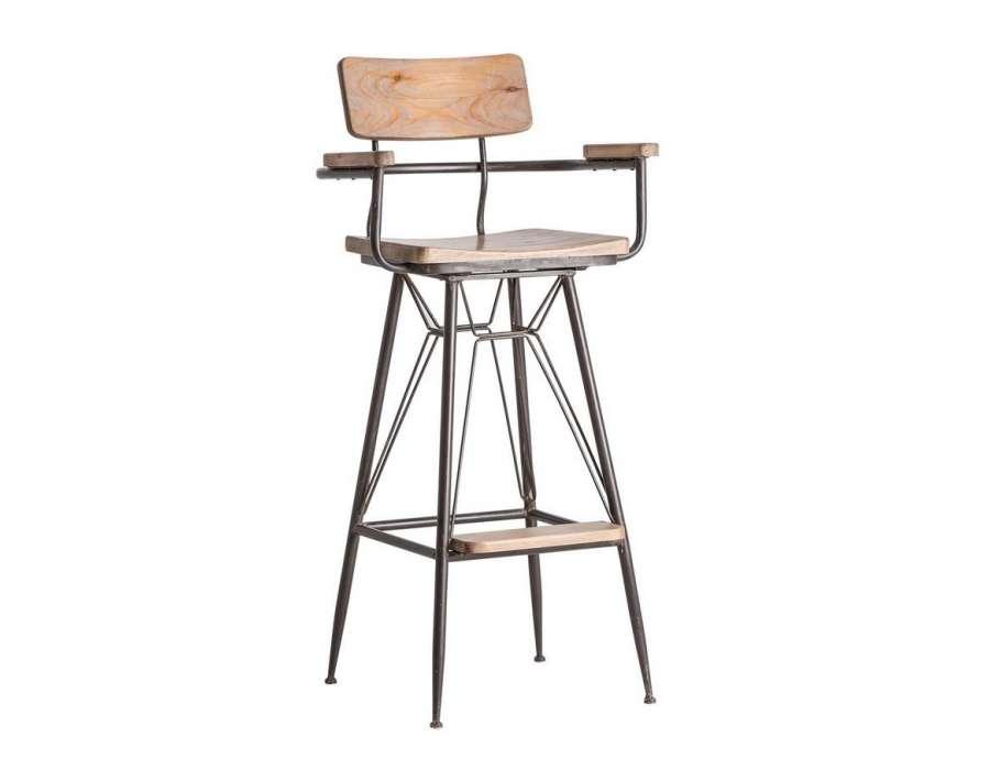 Chaise de bar industrielle avec dossier et accoudoirs for Chaise bar avec dossier