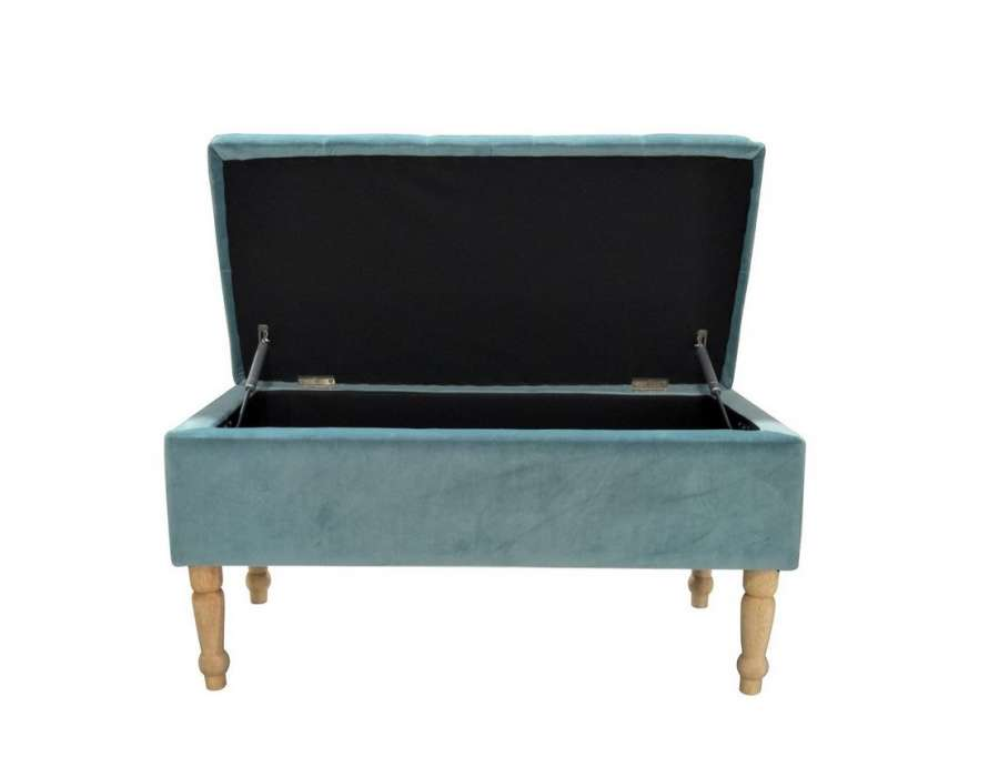 petite banquette coffre velours bleu pas cher 121 cm. Black Bedroom Furniture Sets. Home Design Ideas