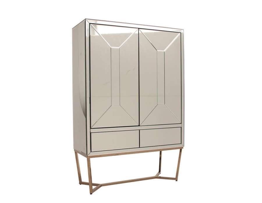 Armoire miroir design avec 2 portes tr s chic vical home for Miroir a coller sur armoire