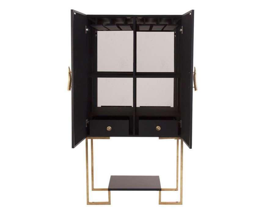 Armoire bar noire design 2 portes en bois vical home for Armoire salon