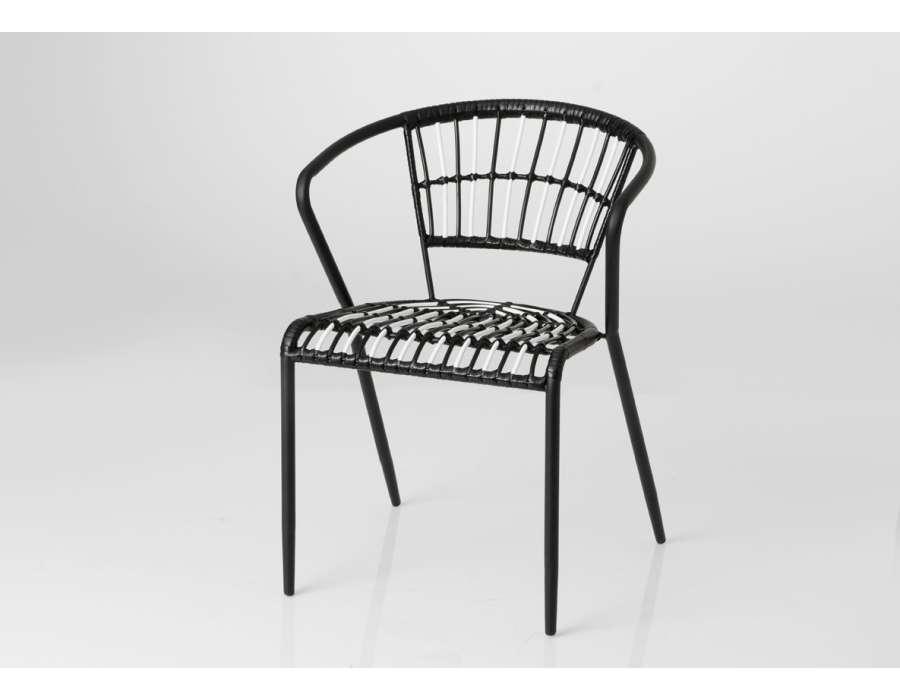 Chaise rotin noire et blanche Bohème