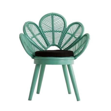 fauteuil vert forme fleur en rotin pas cher