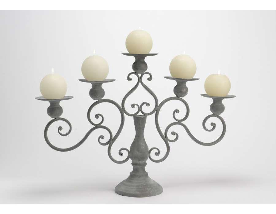 grand chandelier 5 bougies en m tal gris. Black Bedroom Furniture Sets. Home Design Ideas