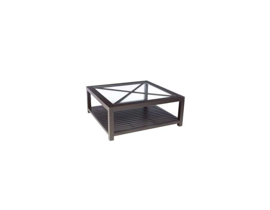 Table basse bois noir et verre