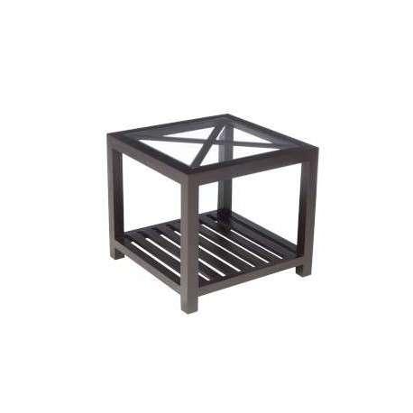 Bout de canapé bois noir et verre