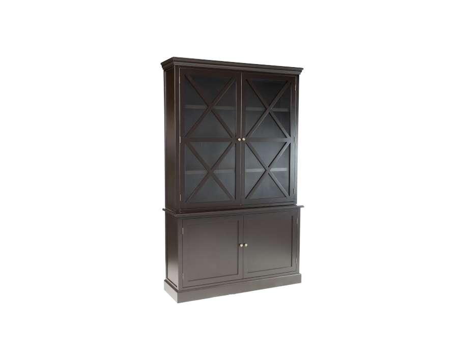 Vaisselier bois noir 2 portes vitrées