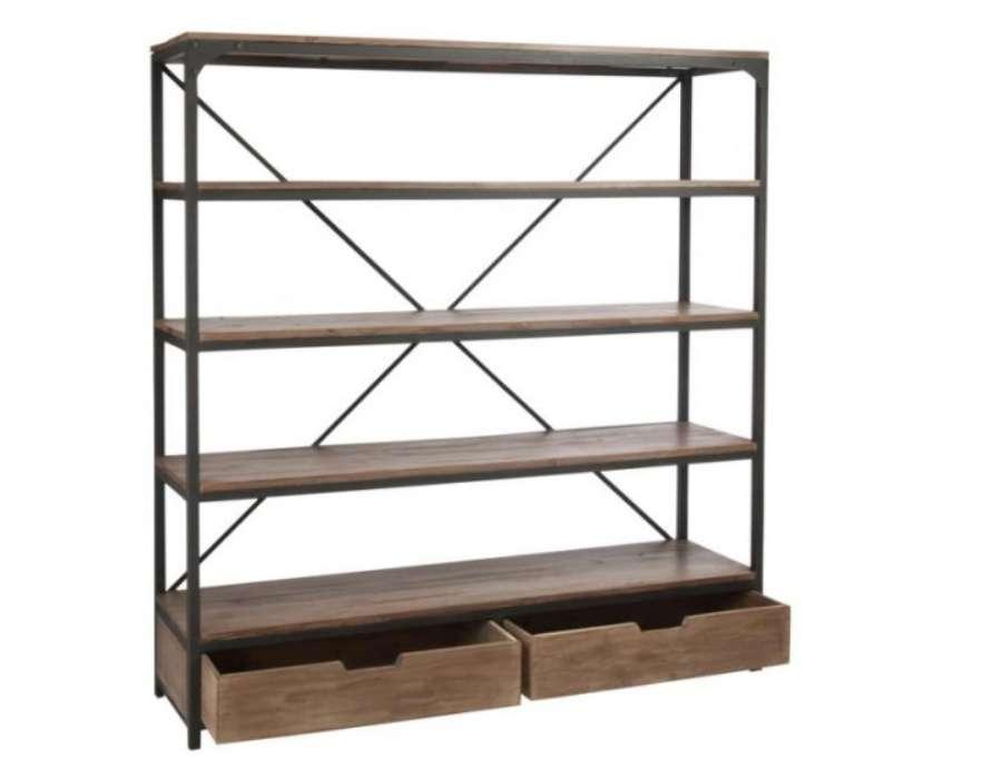 grande biblioth que industrielle bois m tal jolipa. Black Bedroom Furniture Sets. Home Design Ideas