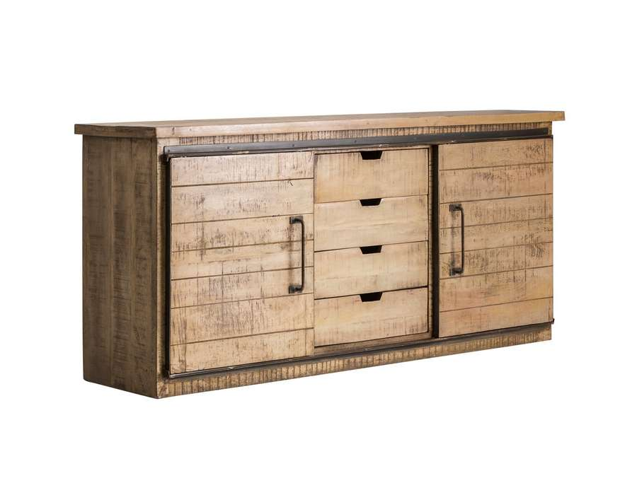 bahut en bois robuste et m tal industriel. Black Bedroom Furniture Sets. Home Design Ideas