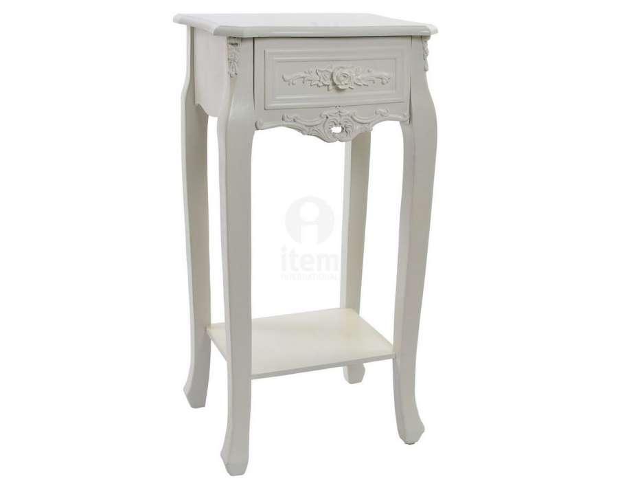 Table de nuit romantique blanche galb 1 tiroir pas cher - Table de nuit blanche pas cher ...