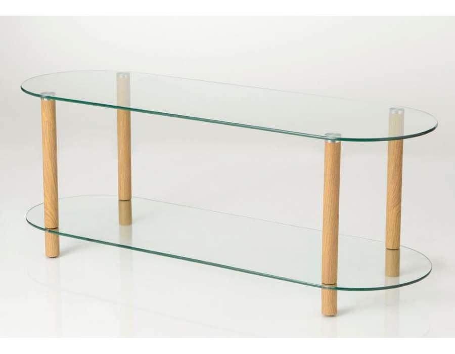 meuble t l design en verre avec deux plateaux amadeus. Black Bedroom Furniture Sets. Home Design Ideas