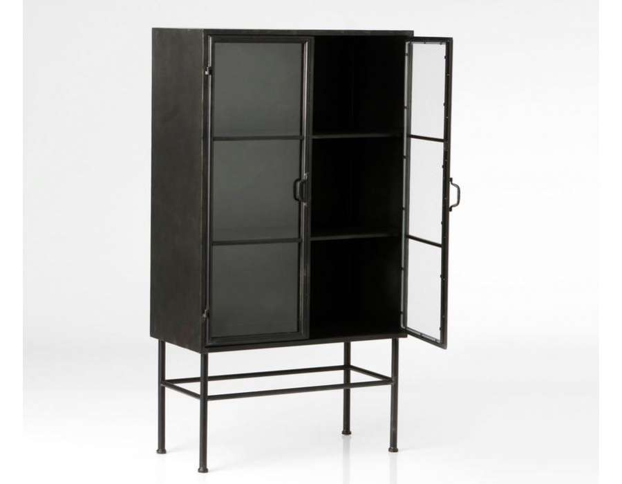 armoire noire vitr e en m tal de style industriel de la. Black Bedroom Furniture Sets. Home Design Ideas