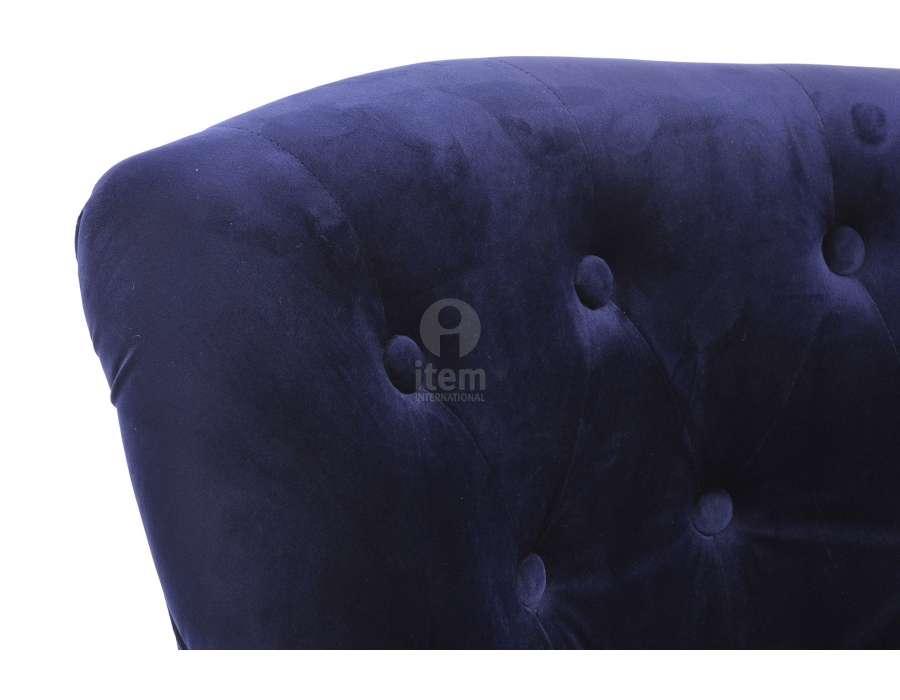 Fauteuil crapaud capitonné bleu nuit