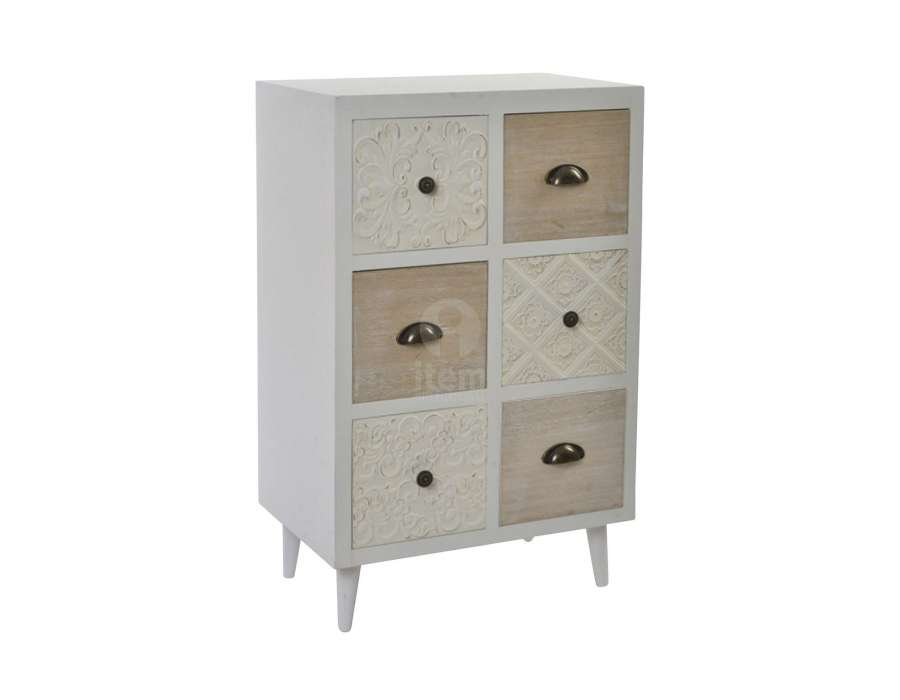 petit chiffonnier scandinave avec 6 tiroirs teintes blanches. Black Bedroom Furniture Sets. Home Design Ideas