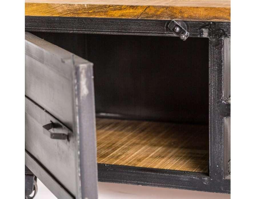 Meuble tv métal noir Industriel sur roues 160 cm