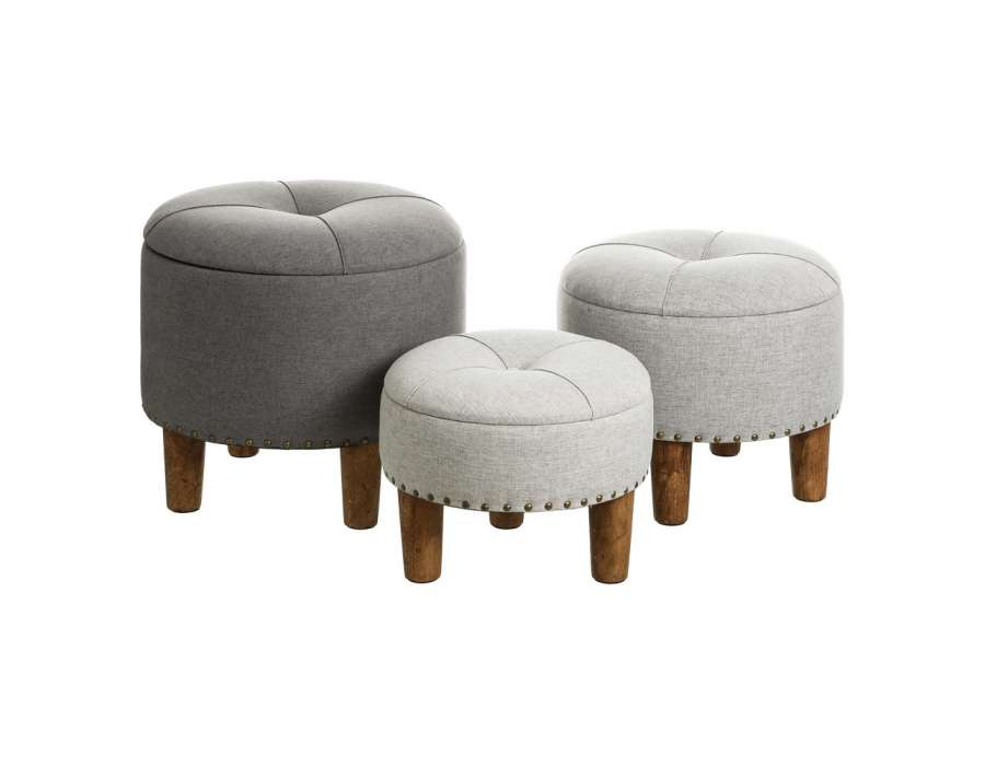 Poufs ronds chics gris - coffre par 3