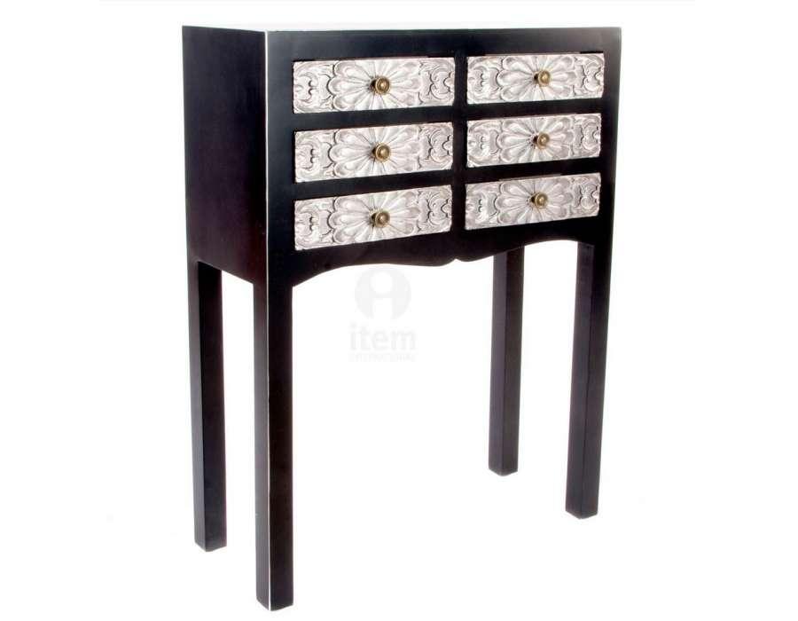 Petite console chinoise noire et argent 6 tiroirs sculpt s for Meuble console japonaise