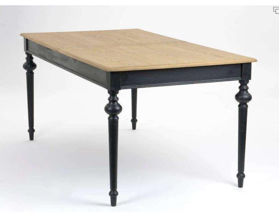 Table de salle à manger noire plateau cérusé