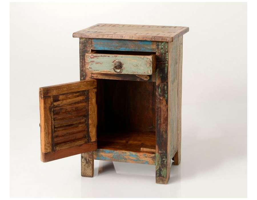 table de nuit color e patin e style indien amadeus. Black Bedroom Furniture Sets. Home Design Ideas