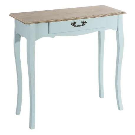 Console bois bleue galbée, meule entrée romantique avec plateau ...