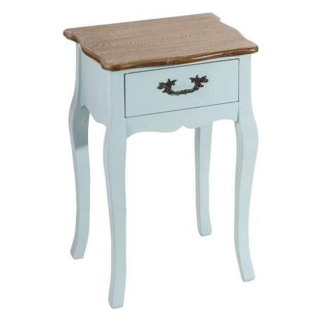 Petite Table De Nuit Romantique Bleue Avec Un Plateau En