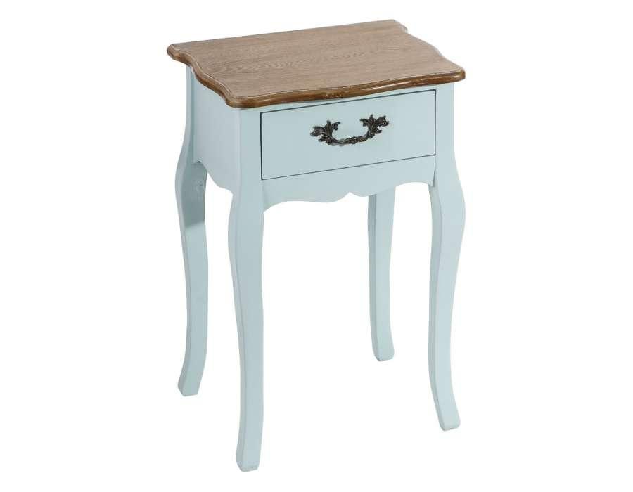 Petite table de chevet bleue romantique Cécile
