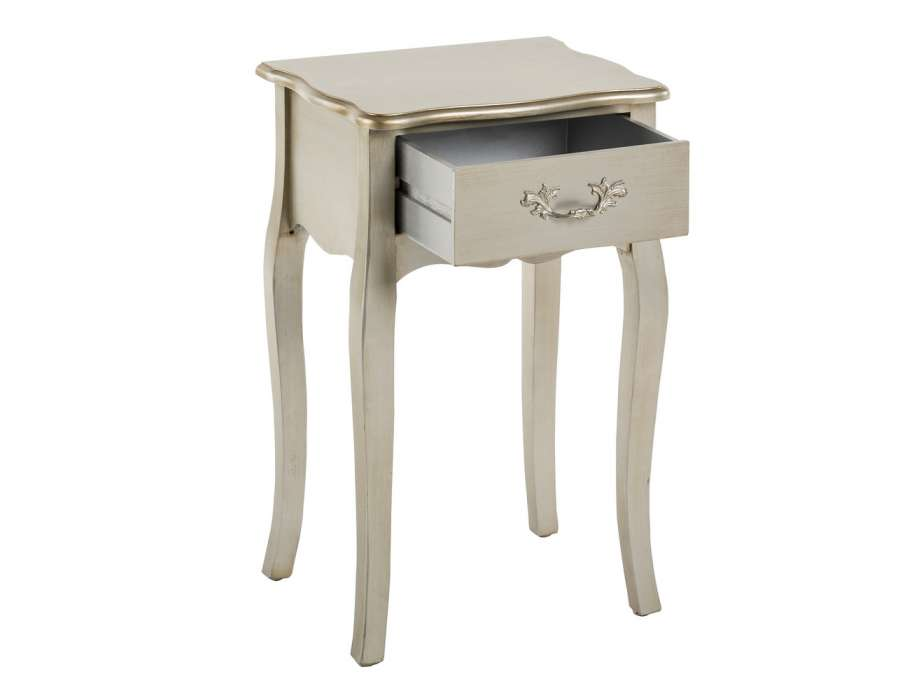 Petite table de nuit romantique argent e dor e pas chere - Petite table de chevet ...