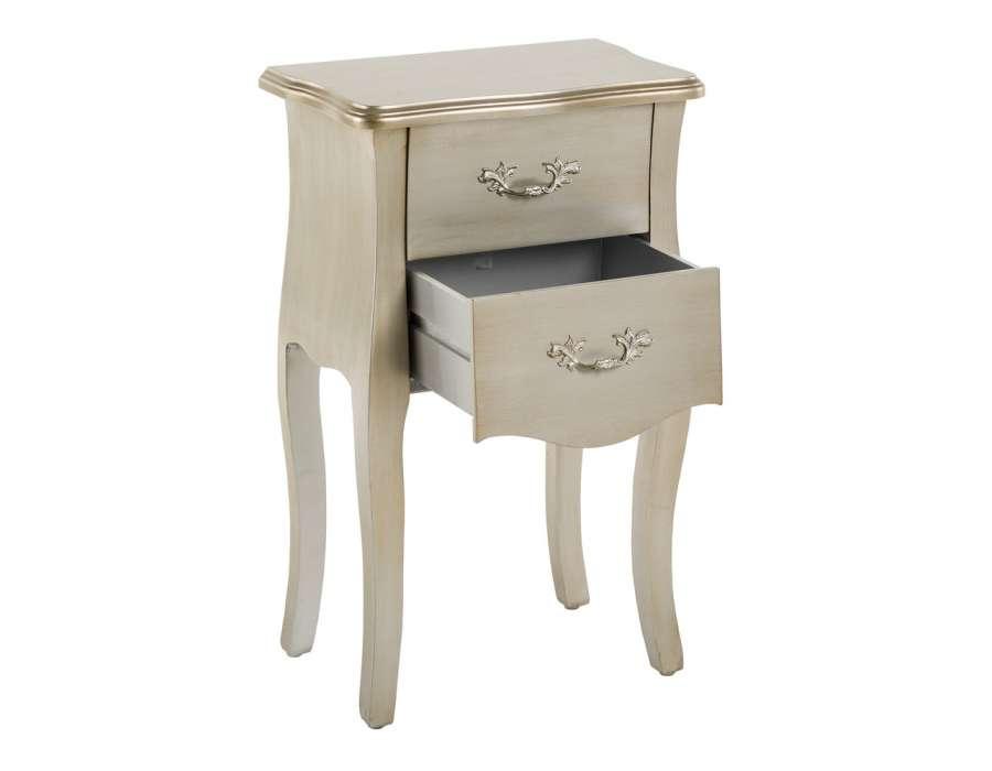 Table de nuit argent e 2 tiroirs pas chere - Table de nuit pas chere ...