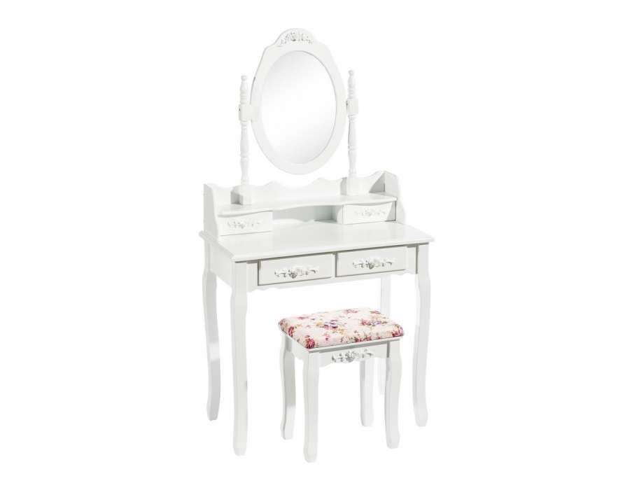 Coiffeuse blanche bois avec miroir et tabouret pas cher for Meuble coiffeuse avec tabouret