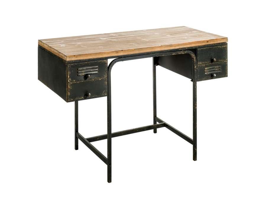 bureau industriel m tal noir vieilli et plateau bois vintage