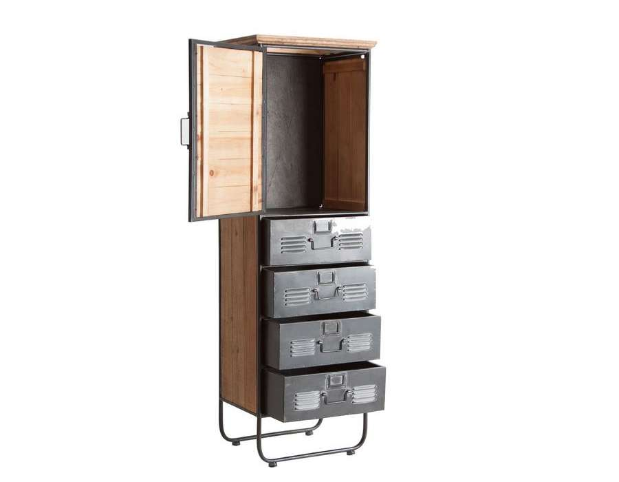 chiffonnier industriel avec placard et tiroirs en bois et. Black Bedroom Furniture Sets. Home Design Ideas